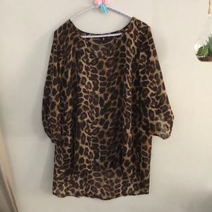 Sheer Leopard Shirt with Metal Detail